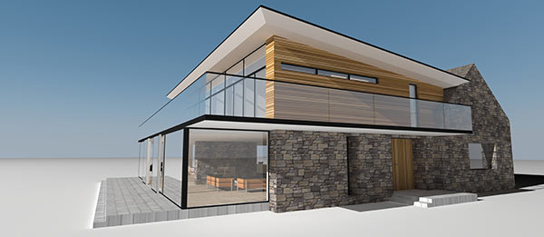 Rear elevation of Loch Earn house conversion by Scottish architect
