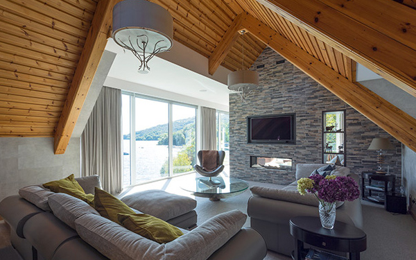 living room with views over loch lomond