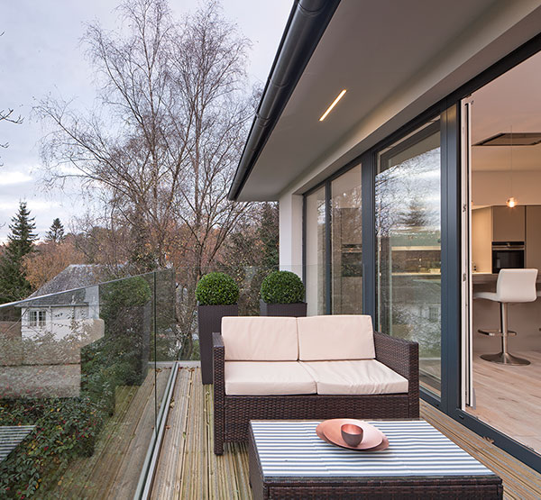 Balcony of new house in Bearsden by Glasgow architect